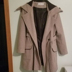 Calvin Klein Wool Peacoat cream with black lining